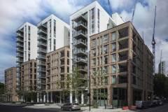Okna drewniano – aluminiowe, okna balkonowe, kolor antracyt, widok z ulicy od zewnątrz na cały budynek apartamentowca, elewacja z cegły i płyt piaskowca, przeszklone balkony i tarasy