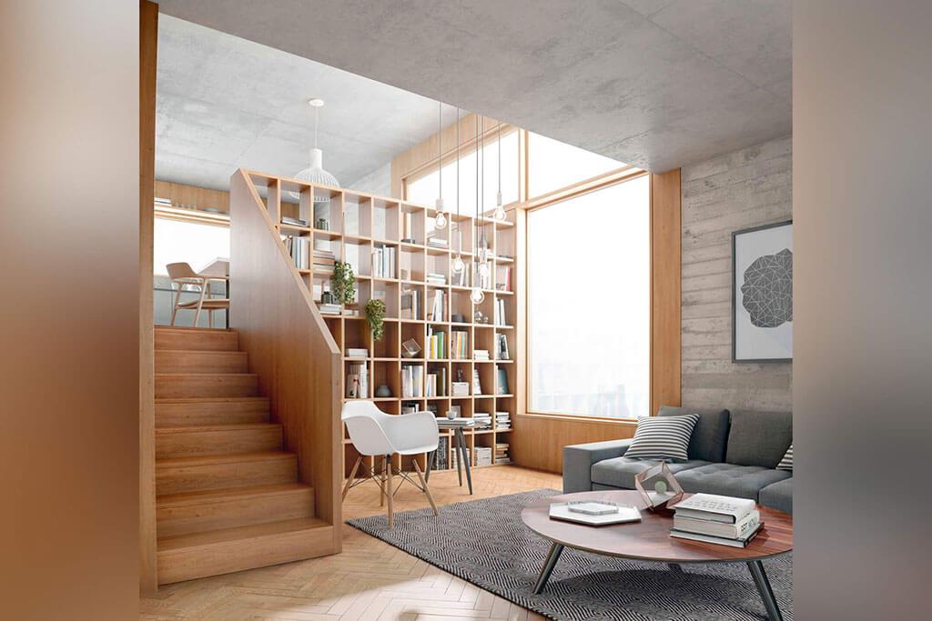 """Okna drewniano – aluminiowe, kolor naturalny dąb. Widok z wnętrza biblioteki na duże okno w kształcie odwróconej litery """"L""""."""
